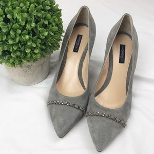 Marina Rinaldi gray suede leather pumps heels